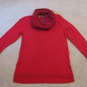 APT 9 Red Tunic Sweater NEW With Infinity Scarf